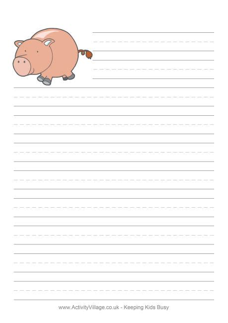 pig writing paper printable penguin writing paper