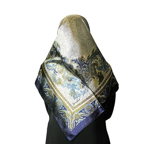 Muslim Scarf Light Blue blue and gold mosaic print muslims s headscarf