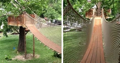 backyard rope bridge rope bridges cable bridge kits play ground pinterest