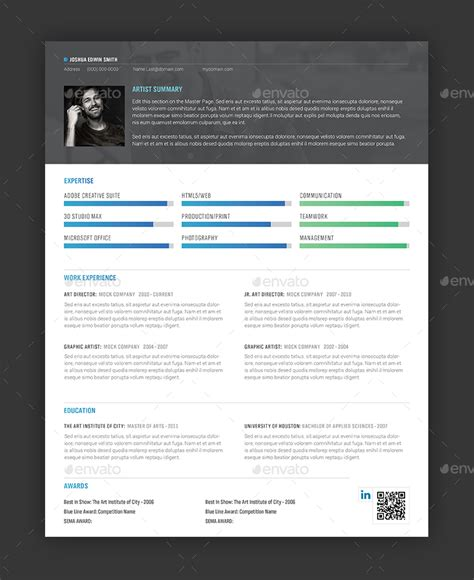 sharp resume cover letter indesign template