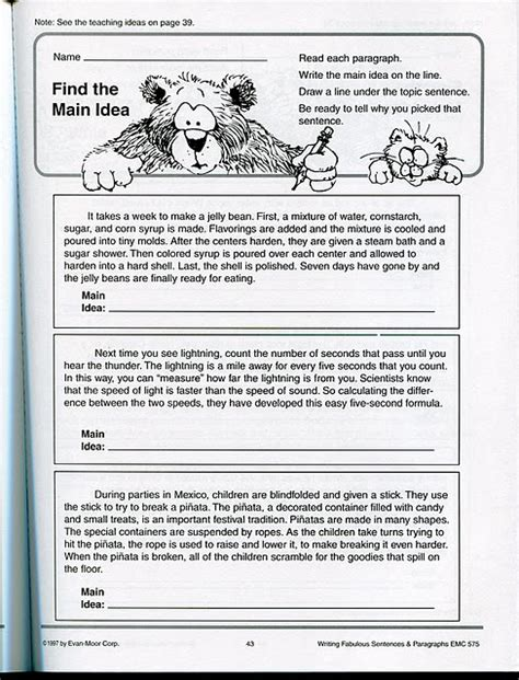 Finding The Idea Worksheets by 3rd Grade Idea Worksheets Abitlikethis