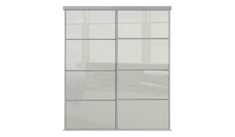 Wardrobe Doors With Glass Panels by Silver Frame White Glass 4 Panel Sliding Wardrobe Doors