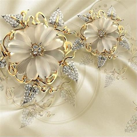 jewellery flower diamond background wall 3d wallpaper 3d gold diamond floral jewelry wallpaper for wall marble