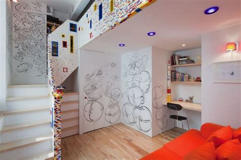 city room creative artistic apartment interior with stair railing made of lego marks caride residence home