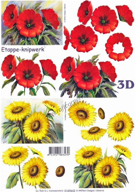 Decoupage Flowers - poppies sunflower flowers 3d decoupage craft sheet