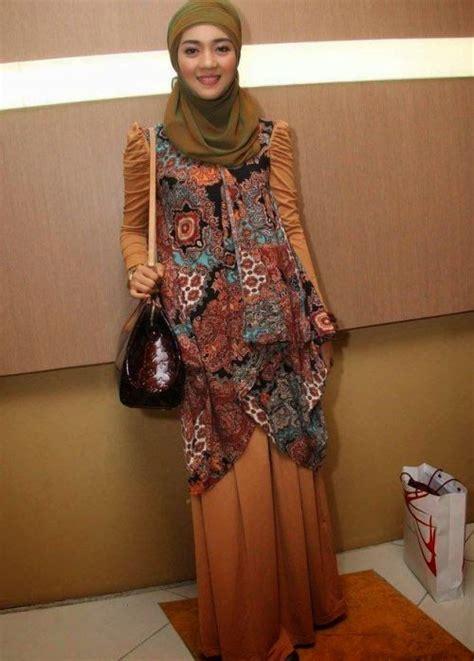 Kaftan Semi Gamis baju pesta muslim batik modern semi casual desain baju