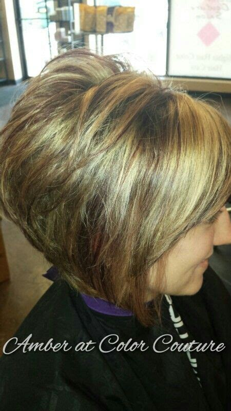 stacked bob for older women fun blonde and red brown highlights on a short stacked