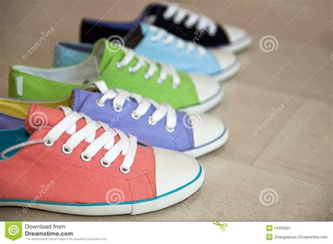 color shoes five different color shoes stock image image of blue
