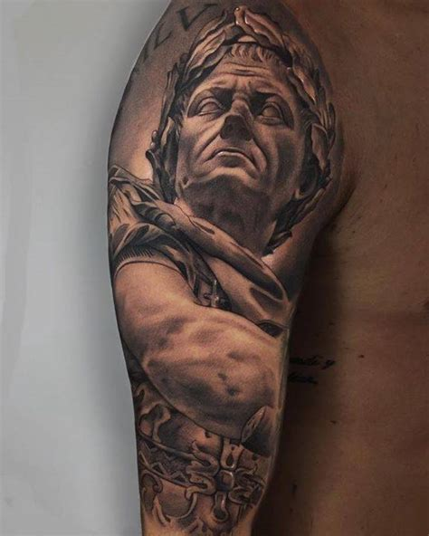 roman statue tattoo black and grey julius caesar on the right arm