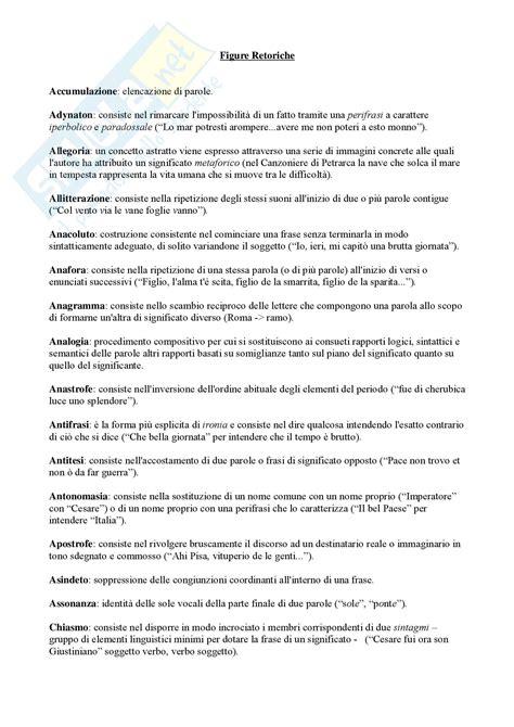 le principali figure retoriche letteratura italiana figure retoriche analisi