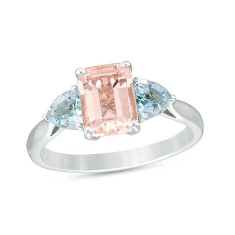 emerald cut morganite and aquamarine three ring in