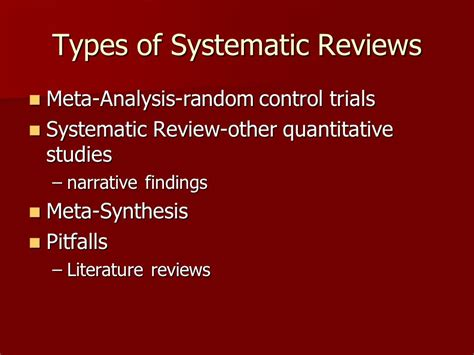 Meta Analysis As Quantitative Literature Review evidenced based practice systematic reviews critiquing research ppt