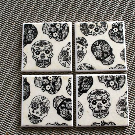 sugar skull home decor day of the dead ceramic drinks coasters mexican black