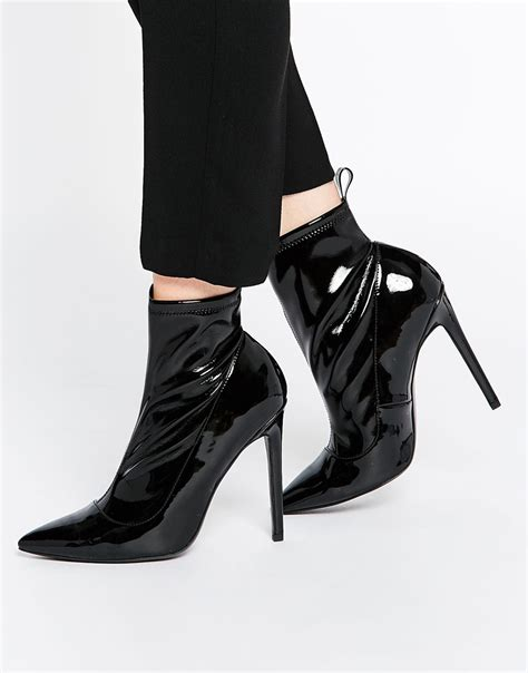 asos envision pointed sock boots in black lyst