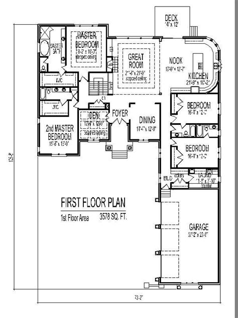 Four Bedroom Floor Plans Single Story by Unique 4 Bedroom House Plans Single Story New Home Plans