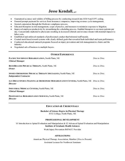 therapy resume exles sle physical therapist resume resume ideas