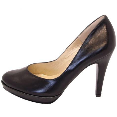 kaiser lukrezia black leather stilettos designer heels