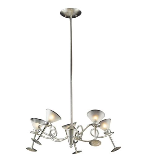 Martini Glass Chandelier Elk Lighting Martini Glass 5 Light Chandelier In Silver Leaf 3653 5
