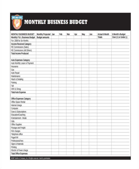 monthly business budget template 26 budget templates in pdf free premium templates