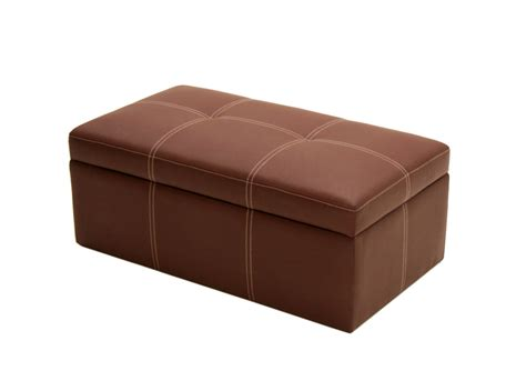Brown Faux Leather Large Rectangle Ottoman Storage Seat Leather Ottomans With Storage