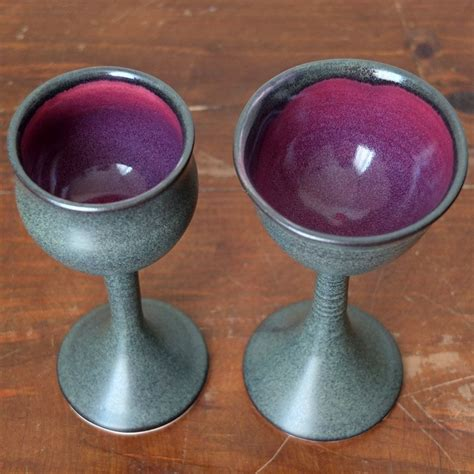 Handcrafted Glasses - custom made 2 iron purple wine glasses goblets chalices