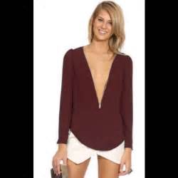 tops maroon sheer vneck zipper chiffon blouse