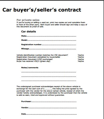 car sale contract used car sale contract template free sle templates