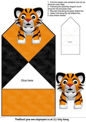 animal pop up card template cuddly tiger pop up card cup75102 572 craftsuprint