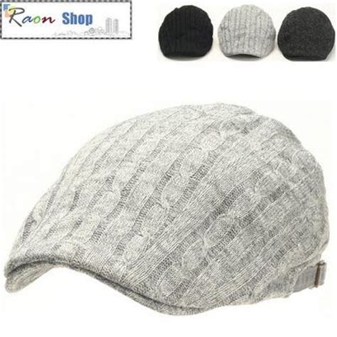 Topi Newsboy Cap winter style twist knit l gray warm newsboy flat cap gatsby hat golf cabbie ebay hat