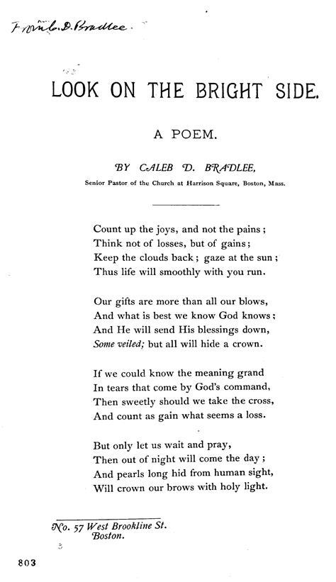 look on the bright side a poem by caleb d bradlee