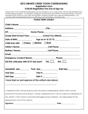 Football Score Sheet Forms And Templates Fillable Printable Sles For Pdf Word Pdffiller Cheerleading Registration Form Template