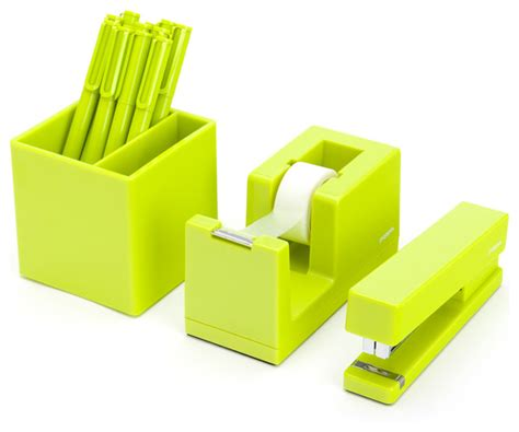 green desk accessories starter set lime green contemporary desk accessories