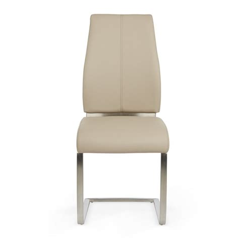 dawlish dining chair in taupe faux leather and brushed