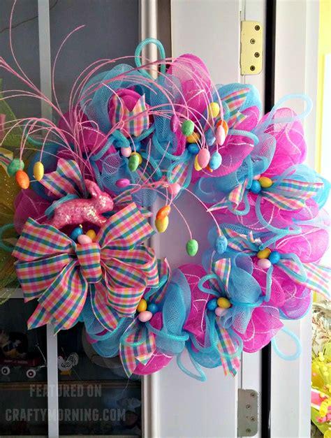 decor ribbon easter deco mesh wreath crafty morning