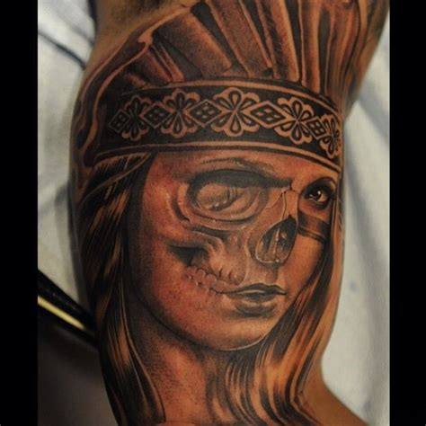 aztec woman tattoo aztec skull by abey alvarez tatoo ideas