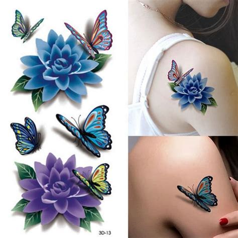 colorful 3d butterfly flower rose tattoo sticker