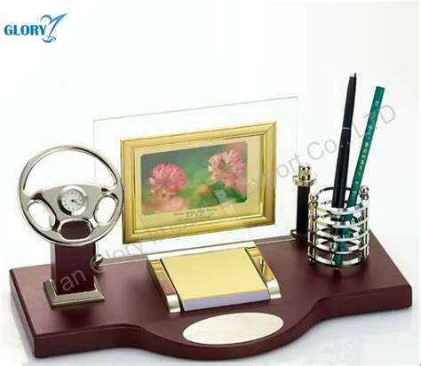 car model design wood clock with pen stand for office desk