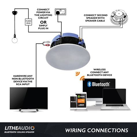 How To Connect Ceiling Speakers To Tv by Lithe Audio Bluetooth Ceiling Speaker At Uk Electrical