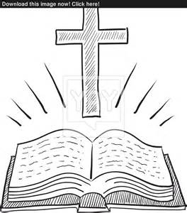 bible and cross sketch vector yayimages com