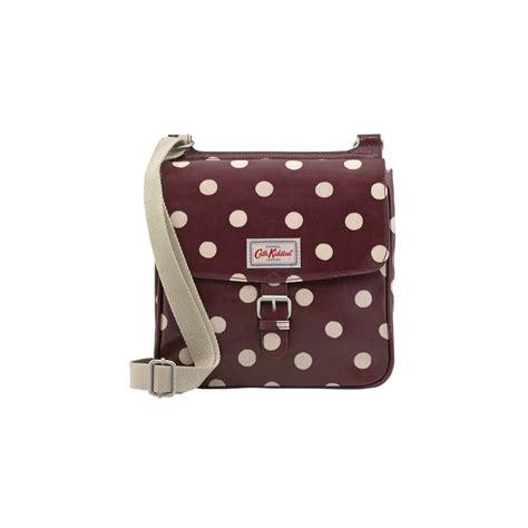 Cath Kidston Saddle Bag cath kidston button spot tab saddle bag in burgundy 711821