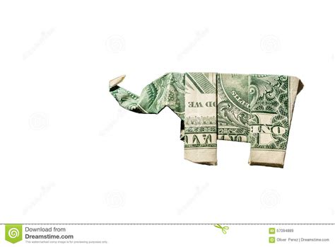 Dollar Bill Elephant Origami - elephant origami stock photo image 57094889