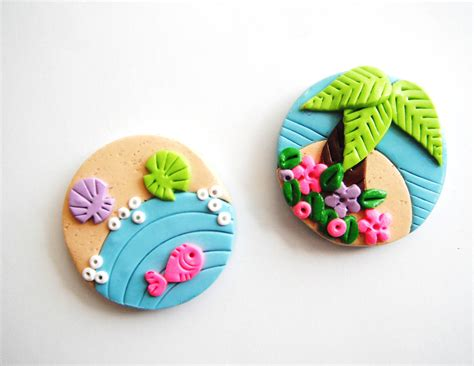 Handmade Fridge Magnets Ideas - magnet tiny island handmade polymer clay magnets 2