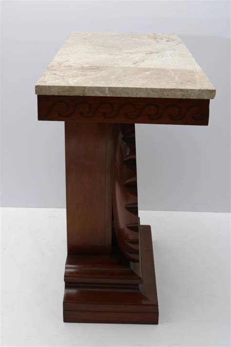 Shell Table L by Shell Motif Mahogany Console Table By Edward Wormley For