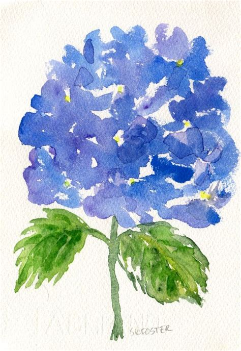 blue hydrangeas original watercolor painting flower painting small floral wall hydrangea