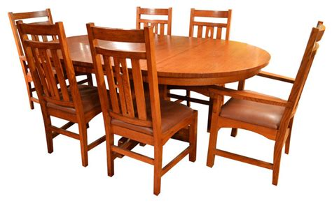Arts And Crafts Dining Table And Chairs Arts And Crafts Mission Oak Dining Table And Set Of 8 Mission Oak Chairs Craftsman Dining