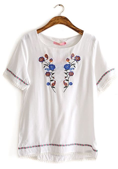 floral embroidery cotton shirt white floral embroidery neck cotton t shirt t