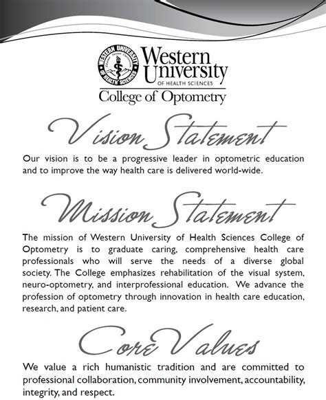 Scholarship Vision Statement College Of Optometry 187 Vision Statement Mission Statement And Values