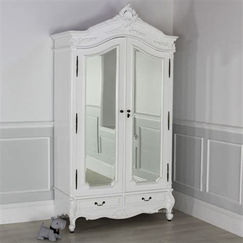 white armoire with mirrored door french chateau white painted 2 door mirrored armoire