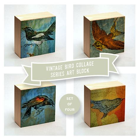 dictionary art print bird collage art box set