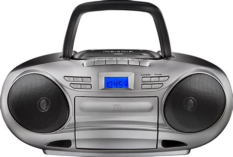 player under50 insignia cd cassette boombox with am fm radio black ns